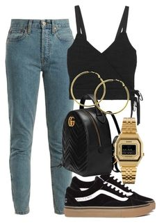 """""""Untitled #2554"""" by mariandradde ❤ liked on Polyvore featuring RE/DONE, Madewell, Gucci, Melissa Odabash and Casio"""