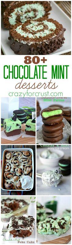 Over 80 Chocolate Mint Desserts | crazyforcrust.com