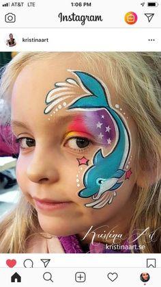 Dolphin Dolphin Face Paint, Shark Face Painting, Adult Face Painting, Animal Face Paintings, Christmas Face Painting, Face Painting Designs, Face Painting Tutorials, Cheek Art, Extreme Makeup
