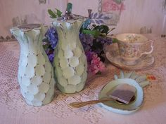 Shabby Chic Mint Green Pineapple Shaped Salt Shaker Pepper Grinder Mill, Upcycled Vintage Salt and Pepper Shaker Grinder Teabag Tray Set by MooseRiverGifts on Etsy