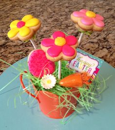 Easter, Spring sugar cookie flower bouquet