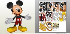 pdo file template for Disney - Mickey Mouse. Mickey Mouse Crafts, Mickey Minnie Mouse, Paper Mache Crafts, Paper Crafts Origami, Tattoos With Kids Names, Son Tattoos, Family Tattoos, Print Tattoos, Mickey Mouse Tattoos