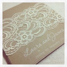Rustic Wedding Invitation with white ink - Rustic Vintage Lace Square Invitation