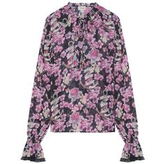 Temperley London Captain Print Blouse (€180) ❤ liked on Polyvore featuring tops, blouses, pink, print blouse, floral tops, pink blouse, pink floral top and anchor print blouse