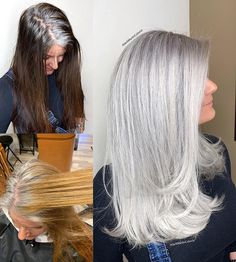 This beautiful client came to me seeking gray silver color to blend and match her natural gray roots so she can stop coloring her hair dark… Grey Hair Transformation, Gray Hair Highlights, Balayage Highlights, Transition To Gray Hair, Long Gray Hair, Great Hair, Hair Videos, Curly Hair Styles, Hair Cuts