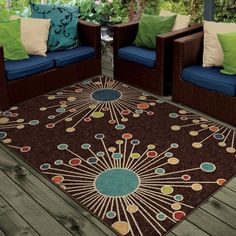 Carolina Weavers Indoor/Outdoor Santa Barbara Collection Firework... ($187) ❤ liked on Polyvore featuring home, rugs, brown, stain resistant rugs, pile rug, rectangle rugs, geometric pattern area rugs and geometric indoor outdoor rug