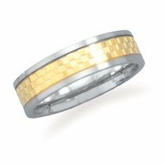 CleverSilver's Stainless Steel Ring With 14 Karat Gold Plated Checker Pattern CleverSilver. $14.99