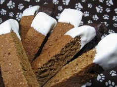 Gingerbread Biscotti for dogs! VERY IMPORTANT NOTE: OMIT THE NUTMEG, it has been linked to causing seizures!!! Substitute plain yogurt or water for milk as most dogs are lactose-intolerant. Recipe looks great otherwise!
