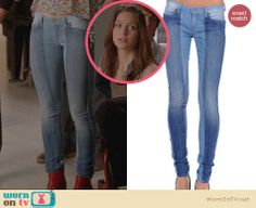 Marley's paneled jeans on Glee. Outfit Details: http://wornontv.net/23500 #Glee