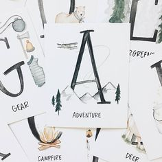 lorelai & everett | Alphabet Adventure Flash Cards// outdoors  girls room decor