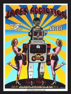 1997 Jane's Addiction Silkscreen Concert Poster by Emek