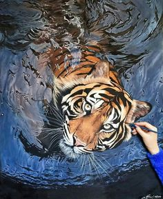 35 Most Beautiful Oil Paintings from Top Artists around the world – Tiger painting Tiger Painting, Hyper Realistic Paintings, Painting Trees, Painting People, Animal Paintings, Animal Drawings, Art Drawings, Oil Paintings, Drawing Animals