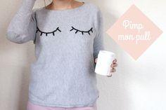 Customiser son pull gris basique en brodant des yeux fermés, le DIY est disponible sur bibouchka.fr