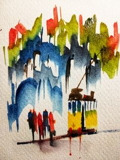 Small doodle of Lisbon, Portugal. Sennelier watercolors, Fabriano 300g/m2 paper