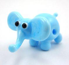 Little Blue Elephant Lampworked Glass Figurine by MercuryGlass, $12.00