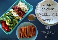 Crispy Chicken Cobb Salad Wraps ~ Quick Summer Recipe with Tyson Chicken Fries