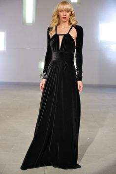 80d52675833 Black velvet gown by Marc Bouwer NYC Fashion Week