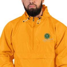 Protect yourself from the elements with this Champion packable jacket. This wind and rain resistant polyester jacket with a detailed embroidery design has a practical hood, front kangaroo pocket, and zipped pouch pocket which you can pull out and . All Weather Jackets, Winter Jackets, Champion Jacket, Packable Jacket, Half Zip Pullover, Embroidered Jacket, Unisex, Manga, Winter Wear