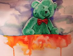 not happy teddy bear aquarelle and acrylics  by evaMerendes