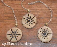 Handmade Rustic Wood Burn Snowflakes Wood Slice Christmas Tree Ornament Set/3 #Handmade