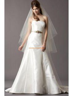 Watters Günstige Schlichte Schicke Brautkleider aus Taft mit Schleppe