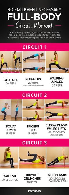 No Equipment Necessary, Full Body Circuit Workout - All you need for this workout is a wall and a chair or bench. No excuses this time! Perfect to do while traveling.