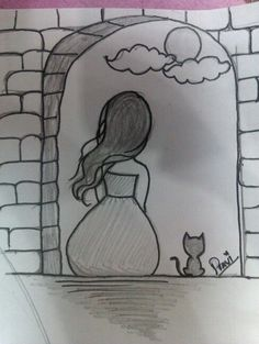 Klicke um das Bild zu sehen Cat and a girl sitting in the balcony watching the beautiful moon balcony beautiful cat Girl moon sitting watching - pencil-drawings Easy Pencil Drawings, Art Drawings Sketches Simple, Girl Drawing Sketches, Girly Drawings, Art Drawings Beautiful, Cat Drawing, Cartoon Drawings, Cool Drawings, Disney Drawings