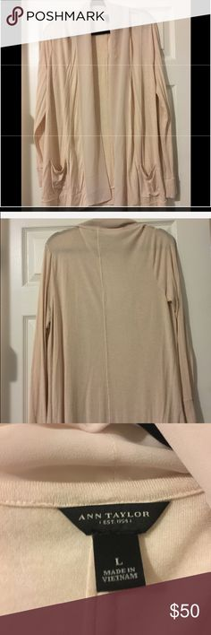 Ann Taylor Cream Cardigan Beautiful Ann Taylor Cream colored flowy cardigan with chiffon trim has two small pockets in front. Size Large. BNWOT It does have the tag you have to cut off before washing it. Free gifts with purchase. Ann Taylor Tops