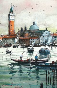 Venice from La Giudecca II, a Watercolor Painting on Paper, by maximilian damico from Czech Republic, Sold out, Price is $250, Size is 11 x 7.5 x 0.1 in.