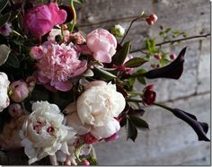 Bouquet of peonies and black calla lilies