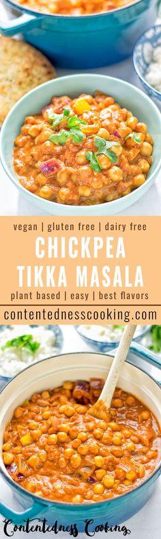 Chickpea Tikka Masala - amazingly tasty and satisfying. Made with just 5 ingredi. - Chickpea Tikka Masala - amazingly tasty and satisfying. Made with just 5 ingredi. Chickpea Recipes, Vegan Recipes Easy, Veggie Recipes, Indian Food Recipes, Whole Food Recipes, Vegetarian Recipes, Cooking Recipes, Healthy Indian Food, Free Recipes