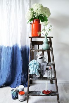 Dip Dye Curtain - I think I finally found the best idea for my living room: dip dye (pink / green) white ikea curtains!