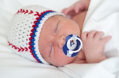 Toronto Blue Jays Baby BASEBALL BEANIE & PACIFIER Crocheted Hat Size Preemie/ Newborn/ 3 or 6 Months/ White/ Red/ Royal by Grandmabilt on Etsy, $34.04 CAD