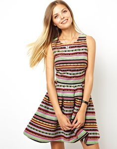8b136cc9e76d61 ASOS Sundress With Cut Out Side In Aztec Jacquard Zomerjurken
