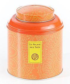 Le Palais des Thés [Palais de Thes] orange paisley pattern cylinder shape tea tin, friction cap lid, c. 2010s, France
