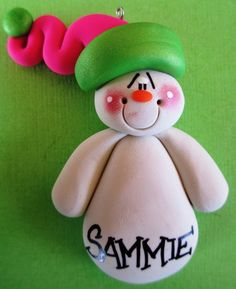 Personalized Clay Snowmen Christmas Ornament Pink & Pearl Green. $7.50, via Etsy.