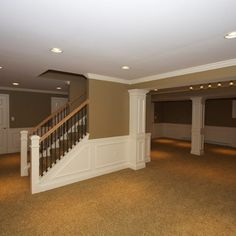 Love the look of the walls in this basement!  Maybe in the main living room of the basement.