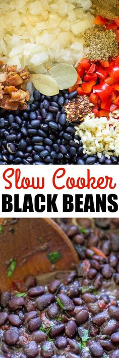 Slow Cooker Black Beans are easy to make, inexpensive, filling, and delicious. Inspired by Chipotle's black beans, but with BACON. via -- to veganize sub in 2 TBS olive oil for the 2 slices of bacon. Slow Cooker Black Beans, Crock Pot Slow Cooker, Crock Pot Cooking, Slow Cooker Recipes, Crockpot Recipes, Cooking Recipes, Black Cooker, Black Beans Recipe Crock Pot, Cooking Tips