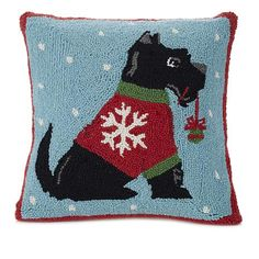 Shop Jeffrey Banks Scottie Decorative Hand-Hooked Wool Pillow 8639147, read customer reviews and more at HSN.com. Wool Pillows, Bed Pillows, Scottie, Banks, Scottish Terriers, Happy Holidays, Decor, Shop, Art