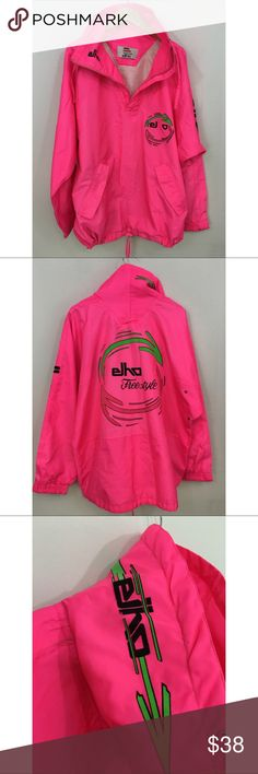 ELHO Freestyle Ski/Festival/Rave Pullover Jacket. Preowned Vintage Vibrant Neon Pink ELHO Freestyle Ski/Festival/Rave Pullover Jacket.  Unisex, Hip Length, Drawstring.  100% Polyester.  NOTE:  Vintage Preowned Jacket DOES show signs of wear.  Lettering has been compromised on jacket (see pics). ELHO Jackets & Coats