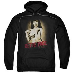 Bettie Page/Distressed Tease Adult Pull-Over Hoodie in