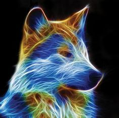 Buy 1 and Get 1 Free Coupon Wolf Fractal Modern Cross Stitch Pattern Counted Cross Stitch Ch Wolf Pictures, Beautiful Wolves, Mystique, Modern Cross Stitch Patterns, Op Art, Fractal Art, Fantasy Art, Images, Neon