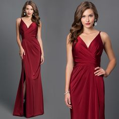 Faviana V-Neck Ruched Open-Back Floor Length Dress