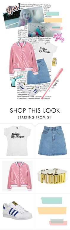"""""""Pastel Harley Quinn + rant"""" by kjvdolly ❤ liked on Polyvore featuring MANGO, adidas, Anya Hindmarch and Louisville Slugger"""