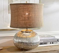 Hand blown from glass into a ribbed sphere, our mercury lamp sparkles like a treasure from the sea. Wooden Lamp Base, Table Lamp Wood, Table Lamp Base, Lamp Bases, Glass Table, Glass Bedroom Set, Traditional Lamp Shades, Floor Lamp Base, Large Lamps