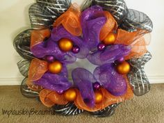 halloween themed DIY deco mesh wreath via @Tamara Walker Walker Simon {ImplausiblyBeautiful}