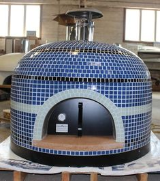 """Custom Napolino Pizza Oven with """"Whisper Blue"""" trim. Loving the name and look of that color choice. Pizza Oven Outside, Diy Pizza Oven, Pizza Oven Outdoor, Pizza Ovens, Outdoor Bbq Kitchen, Outdoor Kitchen Design, Outdoor Kitchens, Outdoor Rooms, Patio Design"""