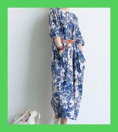 901400f52 2017 Primavera Mujeres Azul Blanco Porcelana Robe Vintage Imprimir Ultra  Largo Suelto Algodon Lino Mujeres vestido