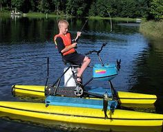Kids love fishing from hydrobikes. Its easy and safe Small Fishing Boats, Fishing Adventure, Baby Strollers, Wildlife, Bike, Water, Easy, Baby Prams, Bicycle