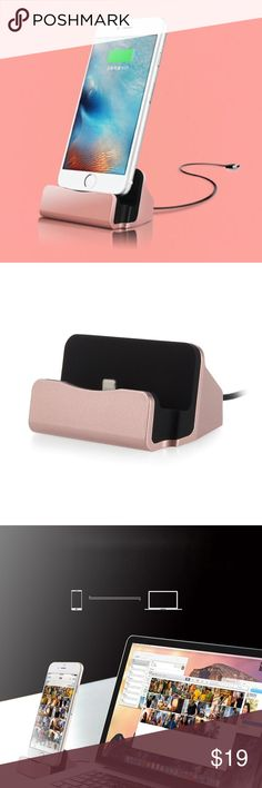 Lightning fast desktop dock cradle charger iPhone ROSE GOLD --- Charging & Sync Data . Perfect design, fashion dock charger base cradle, .                                                                    Compatible models: Lightning Charging Dock Apple For Apple iPhone SE/ 6S Plus/ 6S/ 6 Plus/ 6/ 5S/ 5C/ 5/ 7/ 7 Plus For Apple iPad Air 2 / iPad Air / iPad 4 with Retina Display  For Apple iPad mini 3 / iPad mini 2 / iPad mini  For Apple iPod Touch 6th Gen / 5th Gen / iPod nano 7th gen…